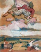 """Gemälde - Max Wissner (1873 Geiersberg/Böhmen - 1959 Regensburg) """"Der fliegende Koffer,"""