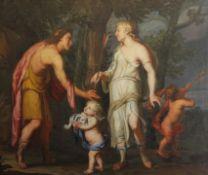 """Gemälde - wohl flämisch 17.Jahrhundert """"Darstellung der Liebesbeziehung zwischen Aeneas (Sohn der"""