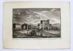 "Radierung - Giuseppe VASI (1710 Corleone / Sizilien -1782 Rom) ""Ponte Nomentano"", l.u.. G. Vasi dis."