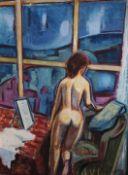 """Gemälde - Wilhelm Niedermayer (1899 Passau - 1965 Englburg) """"Frauenakt vor Sprossenfenster"""", r.u."""
