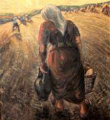 """Großes Gemälde - Wilhelm Niedermayer (1899 Passau - 1965 Englburg) """"Bei der Ernte vor"""