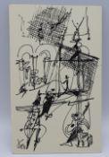"""Tuschezeichnung - Otto Sammer (1914 Schwabach - 2004 Passau) """"Zirkus"""", l.u. monogrammiert,"""