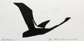"""Holzschnitt - Heinz Theuerjahr (1913 Stolp (Pommern) - 1991 Waldhäuser) """"Wildgans"""", r.u."""