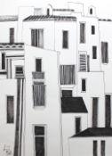 "Federzeichnung - Josef Karl Nerud (1900 Simbach am Inn - 1982) ""IBIZA"", l.u. signiert, datiert 1975,"
