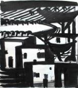 """Tuschezeichnung - Otto Sammer (1914 Schwabach - 2004 Passau) """"Häuserkomposition"""", r.u."""