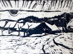 """Holzschnitt - Otto Baumann (Regensburg 1901 - 1992) """"Winterlandschaft"""", r.u. Bleistiftmonogramm, Nr."""