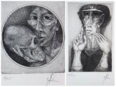 """Paar Radierungen - Günther Filus (1935 Berlin - 2012) """"verschiedene Darstellungen"""", r.u."""
