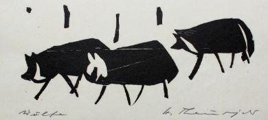 """Holzschnitt - Heinz Theuerjahr (1913 Stolp (Pommern) - 1991 Waldhäuser) """"Wölfe"""", r.u."""