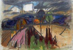 """Mischtechnik - Willi Ulfig (1910 Breslau - 1983 Regensburg) """"Moderne Landschaft"""", r.u. signiert,"""