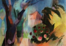 "Großes Aquarell - Willi Ulfig (1910 Breslau - 1983 Regensburg) ""Bunte Gartenlandschaft"", r.u."