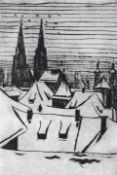 """Radierung - Otto Baumann (Regensburg 1901 - 1992) """"Über den Dächern von Regensburg"""", r.u."""