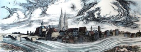 "Farbradierung - Helmut Kies (1933 Wien) ""Stadtansicht Regensburg"", r.u. Bleistiftsignatur,"
