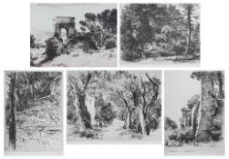 """Fünf Radierungen - Gretli Fuchs (1917 Oldenburg - 1995 Passau) """"verschiedene Darstellungen"""", r.u."""