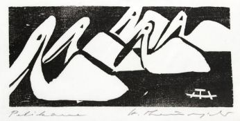 "Holzschnitt - Heinz Theuerjahr (1913 Stolp (Pommern) - 1991 Waldhäuser) ""Pelikane"", r.M."