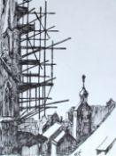 """Paar Zeichnungen - Richard Triebe (1922 Briesen/Dux, Böhmen - 2012 Regensburg) 1. """"Über den"""