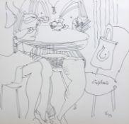 """Tuschezeichnung - Otto Sammer (1914 Schwabach - 2004 Passau) """"Caféhaus"""", r.u. monogrammiert, datiert"""