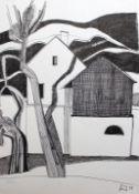 """Federzeichnung - Josef Karl Nerud (1900 Simbach am Inn 1982) """"Landschaft mit Häusern"""", r.u."""