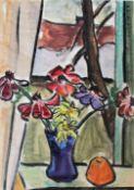 """Großes Aquarell - Otto Baumann (Regensburg 1901 - 1992) """"Blick aus dem Fenster, im Vordergrund"""
