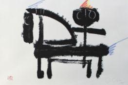 "Lithographie - Josef Oberberger (1905 Regensburg - 1994 Kreuth) ""Reiter"" r.u. Bleistiftmonogramm,"