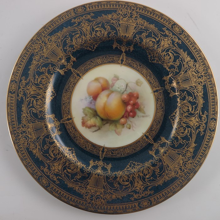 Lot 656 - R Sebright for Royal Worcester, a fruit painted part dessert service