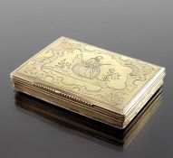 An 18th century Spanish silver gilt snuff box, Garzia, Leiva circa 1740