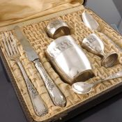 A French silver plated christening set, Ravinet and Cie, circa 1900