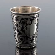 An Imperial Russian silver and niello enamelled tot