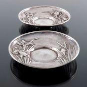 A pair of Japanese silver saucers, Samurai Shokai, Yokohama