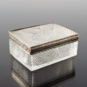 A French silver gilt and cut glass box