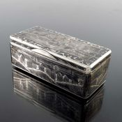 An Imperial Russian silver and niello enamelled snuff box, Moscow 1852