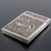 An Indian white metal card case, 19th century