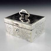 A Japanese silver jewellery box