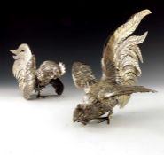 A pair of Italian silver gilt cockerel figures