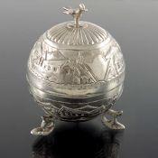 An Oriental silver spherical box