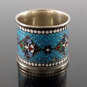An Imperial Russian silver and cloisonne enamelled napkin ring