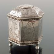 A Dutch silver plated marriage box