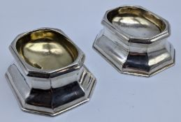 A pair of early Georgian silver salts, hallmarked London, indistinct marks, 91g, monogrammed to