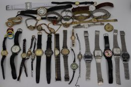 Large collection of watches to include Must de Cartier, Montine, Bifora, Seiko, Lorus and others. (