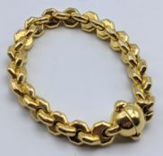 A 9ct yellow gold bracelet, 28g,