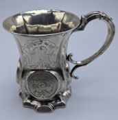 An early Victorian silver mug, etched with floral decor, hallmarked Birmingham, 1854-55, 175g, H.