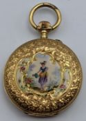An 18ct gold Escasany Continental pocket watch, painted floral figure decor to the case, total