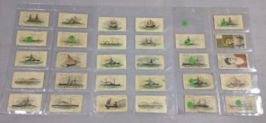 Wills 1890s cigarette cards of ships (27 cards), together with 2 Wills actress cards Miss Taylor and