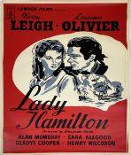 A vintage film poster, London Films Present Vivien Leigh, Laurence Olivier, Lady Hamilton;
