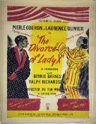 A vintage film poster, Alexander Korda presents Merle Oberon and Laurence Olivier in The