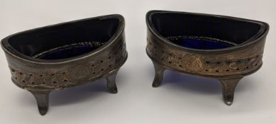A pair of George III silver salts with blue glass liners, hallmarked London, 1797, maker Henry