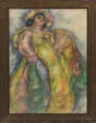 Madge Tennant (1889 - 1972), Lei Lady in Yellow, pastel drawing, annotated in pencil to verso, H.