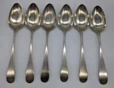 A set of 6 George III Scottish silver serving spoons, initialled terminals, hallmarked Edinburgh,