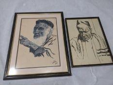 Jewish portraits, pastel and crayon drawing, signed