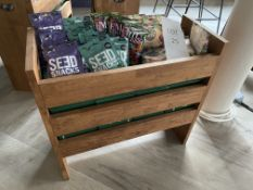 Solid Oak Merchandising Unit (Contents not included) Size H- 660mm x L - 700mm, W - 300mm
