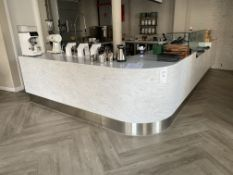 Bespoke Quartz L-Shape Display Unit with Lighting with Stainless Steel Surround. Size - 5M x 3M